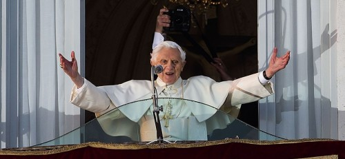 Pope Benedict XVI from the balcony window of residence of Castel Gandolfo,before he officially ends his pontificate a few hours later. (AP Photo/Domenico Stinellis)