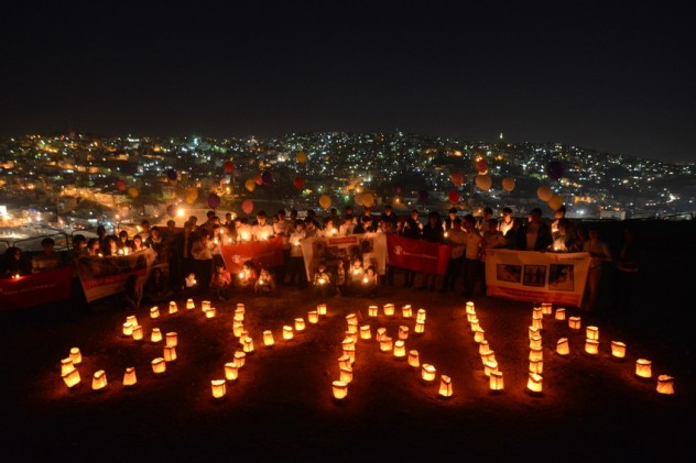 Vigil to mark two years since conflict began in Syria, Jordan, 14th March.