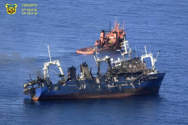 RUSSIAN FISHING SHIP CATCHES FIRE