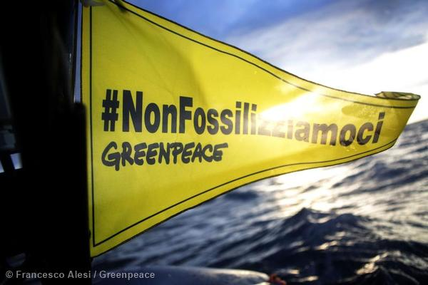 'No Drilling' Banner Protest in Italy