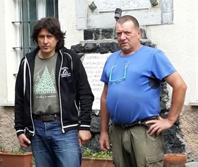 Gino Marioli con a sinistra il sindaco Massimo Castelli