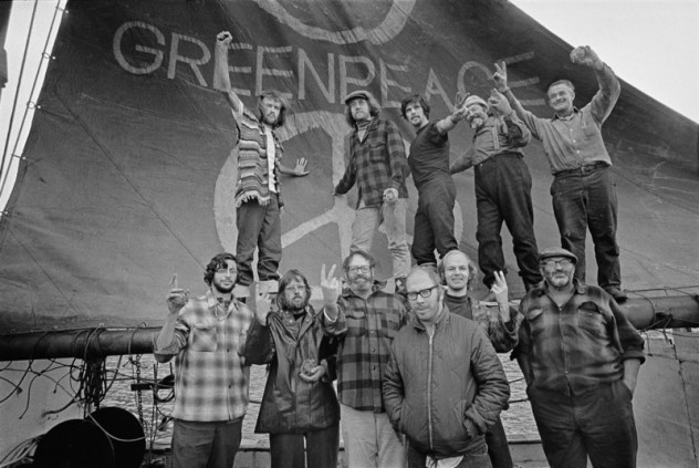 "The crew of the Phyllis Cormack (also called ""Greenpeace"") on-board the ship. Clockwise from top left: Hunter, Moore, Cummings, Metcalfe, Birmingham, Cormack, Darnell, Simmons, Bohlen, Thurston, Fineberg. This is a photographic record by Robert Keziere of the very first Greenpeace voyage, which departed Vancouver on the 15th September 1971. The aim of the trip was to halt nuclear tests in Amchitka Island by sailing into the restricted area. Crew on-board the ship, are the pioneers of the green movement who formed the original group that became Greenpeace."