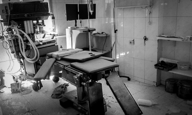Damage inside and outside the MSF-supported Al Daqaq hospital after two bombings occured nearby.