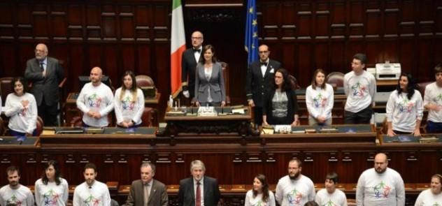 La presidente della Camera Laura Boldrini durante la cerimonia 'Servizio Civile - Giovani per una Italia solidale' a Montecitorio, Roma, 2 giugno 2015. ANSA/UFFICIO STAMPA CAMERA DEPUTATI ++ NO SALES, EDITORIAL USE ONLY ++