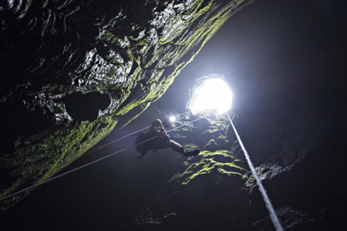 Francesco Sauro, Rolex Young Laureate 2014, enters the Spluga della Preta, a cave near Sant'Anna d'Alfaedo in Italy, an area he uses for training.