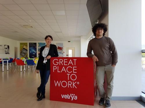 (Da sinistra: Valeria Carli e Alessandro Perugini, dipendenti di Vetrya)