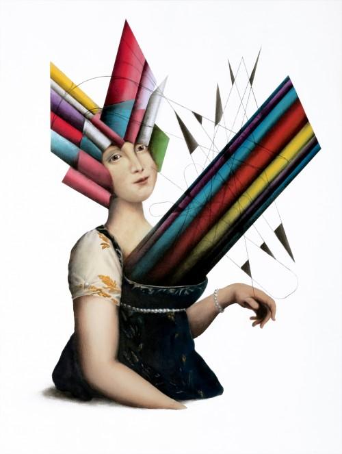 Carolina Murat 2017, tecnica mista su tela, cm 80x60