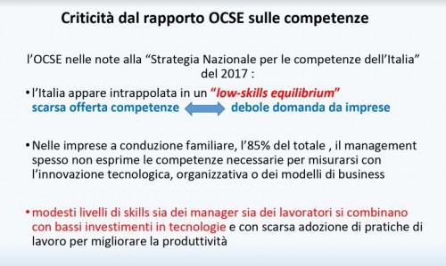 (Una delle slide dell'intervento di Mastrovincenzo il 13 giugno a Milano con i dati sul livello di competenze acquisite e richieste ai lavoratori in Italia)