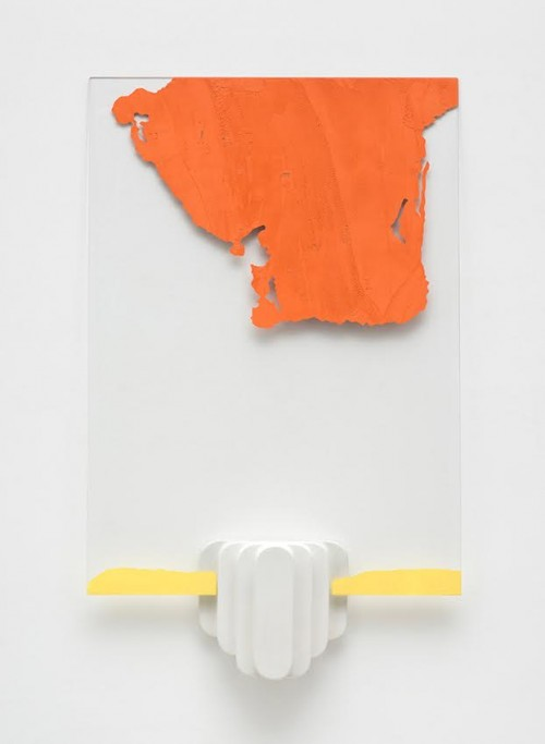 Andrea Sala, Untitled, 2015, glass, bondo colored with oxides, glazed ceramic, 107 x 78,5 x 10 cm, courtesy Federica Schiavo Gallery
