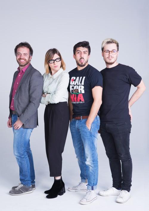Da sinistra, i 4 founders di Friendz: Giorgio Pallocca, Cecilia Nostro, Daniele Scaglia e Alessandro Cadoni