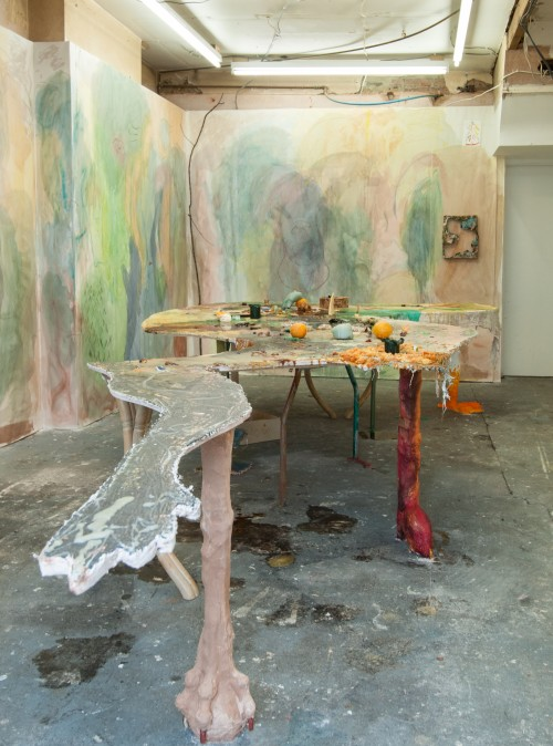 Gaia Di Lorenzo, Sitting Amongst, 2018, with Pietro Librizzi, wood, plaster, pigments, wax, sugar and donated symbolic objects