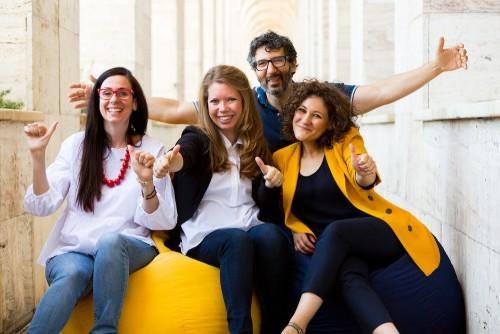 (Il team di codemotion, da sx: Mara Marzocchi, Chiara Russo, Andrea Ferlito, Carlotta Cattaneo)
