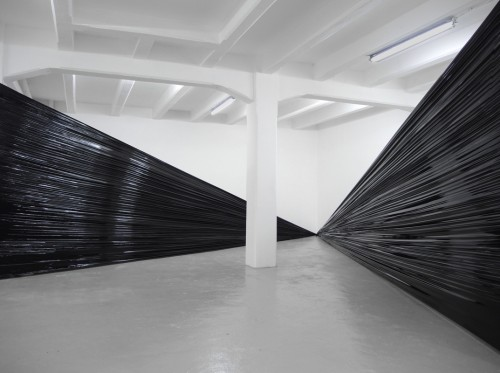 Ocean, 2018, installation, black plastic film, fans, ambiental dimention