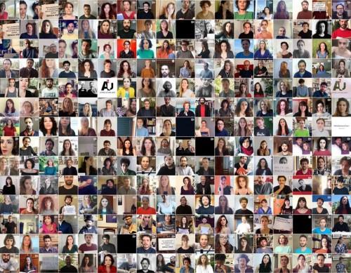 Un collage delle istantanee su Zoom della campagna Tiriamo fuori la voce / da Facebook Attrici attori uniti