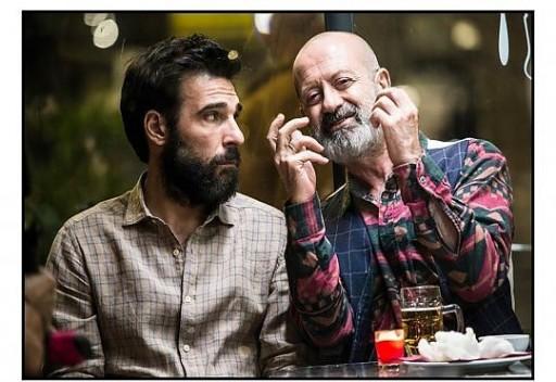 Edoardo Leo (44 anni) regista e interprete di Che vuoi che sia (2016) in una scena con Rocco Papaleo (58)