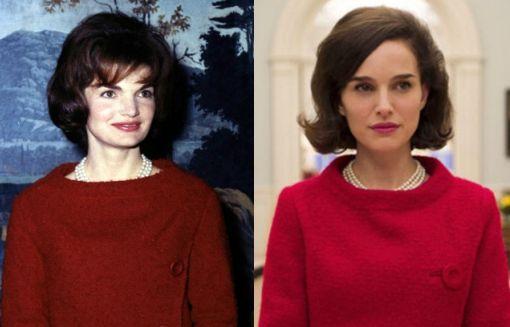 A sinistra la vera Jacqueline Lee Bouvier Kennedy (scomparsa nel 1994 a 64 anni) e a destra la sua interprete Natalie Portman