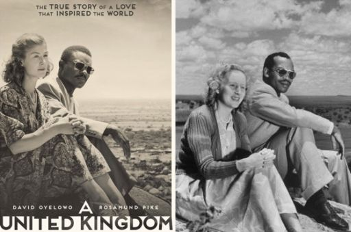 A sinistra la coppia di attori protagonisti di A United Kingdom (2016), Rosamund Pike (38 anni) e David Oyelowo (40) e la vera coppia di fine anni Quaranta a cui il film si è ispirato: Ruth Williams e Seretse Khama