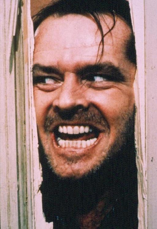 Il volto di Jack Nicholson-Jack Torrance, protagonista di Shining (1980) di Stanley Kubrick, ormai un'icona del cinema