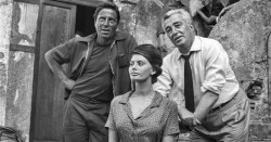 Sul set de La Ciociara con Sophia Loren e Raf Vallone