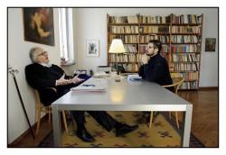 Milano, febbraio 2018: Gustavo Pietropolli Charmet, psichiatra e fondatore dell'Istituto Minotauro, un centro per l'aiuto degli adolescenti in crisi. Un momento dell'intervista con Luca Mastrantonio del settimanale SETTE.