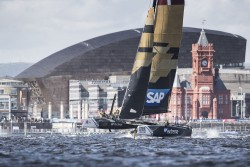 Cardiff. UK. 24th June 2016. The Extreme Sailing Series 2016. Act3. Cardiff Bay. Day 2 of stadium racing close to the city Credit : Lloyd Images