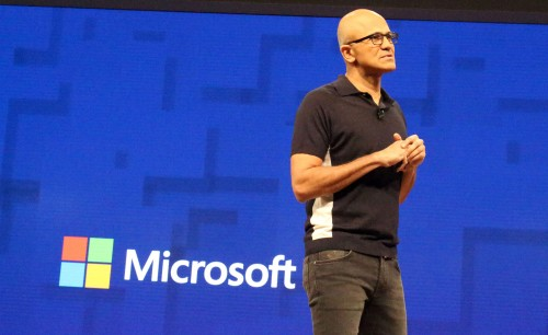 Satya Nadella alla conferenza Build 2017 a Seattle (AFP PHOTO / Glenn CHAPMAN)