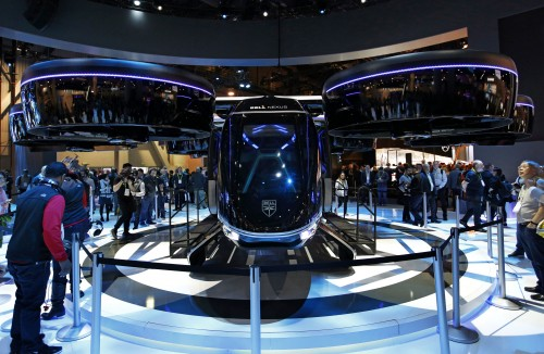 The Bell Nexus hybrid electric air taxi concept is on display at the Bell booth at CES International, Tuesday, Jan. 8, 2019, in Las Vegas. (AP Photo/John Locher)