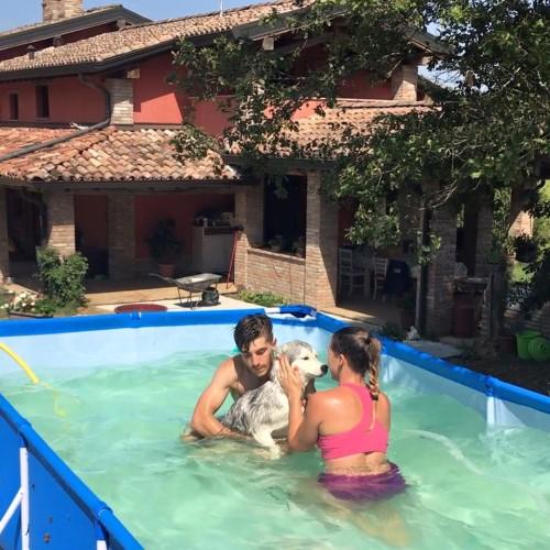 Fontanesi e Vinales in piscina con il loro cane Ice