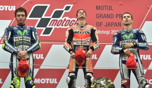 Motegi, podio 201\5: da sinsitra: Valentino Rossi; Dani Pedrosa e Jorge Lorenzo (AFP)