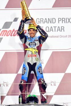 La gioia di Morbidelli sul podio in Qatar (EPA)