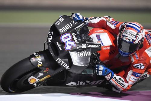 Andrea Dovizio durante i test in Qatar 2017: notare il muso della Ducati (Guidetti)
