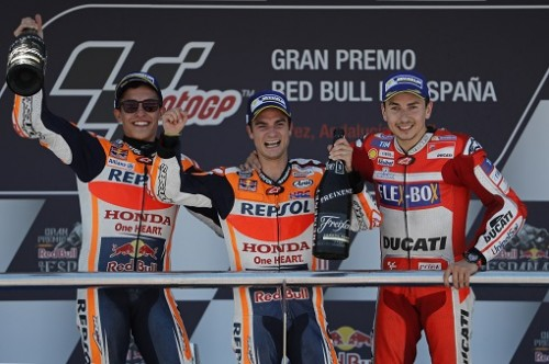 MotoGP Jerez 2017, il podio, Da sinistra: Marquez Pedrosa e Lorenzo