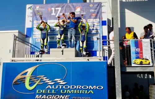 Il podio di Magione dove Andrea Natali si è laureato campione italiano