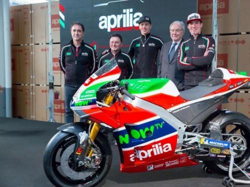 Presentazione Aprilia motogp 2018. Da sinistra: Romano Albesiano, Fausto Gresini, Scott Redding, Roberto Colaninno, Aleix Espargaro