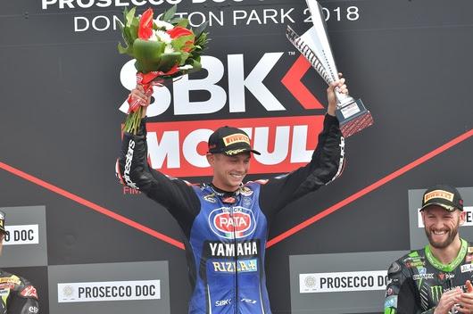 Michael Van Der Mark sul podio della SBK 2018 a Donington