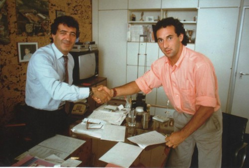 Edi Orioli firma il contratto con Claudio Castiglioni e la Cagiva nel 1989