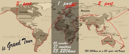 La cartina con il piano di viaggio passato e futuro di Ilario Lavarra