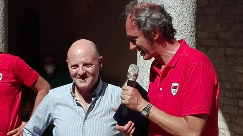 Miki Biasion (sinistra) intervistato da Luca Morazzoni, vicepresidente Club Italia