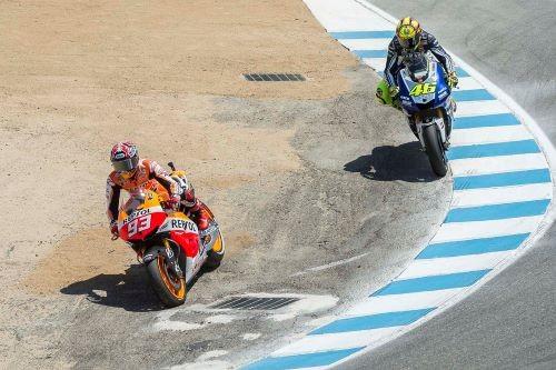 Il leggendario sorpasso di Marquez si Rossi a Laguna Seca 2013 che ha consacrato lo spagnolo (AFP)