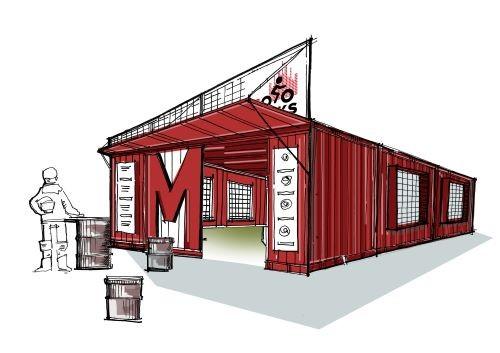 Uno dei disegni preparatori del padiglione di Milano Motoweeks