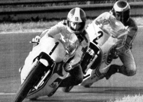 GP Citta' di Lugo, il vincitore Agostini, su Yamaha, davanti a Lucchinelli su Suzuki