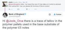 Il tweet della Banca d'Inghilterra