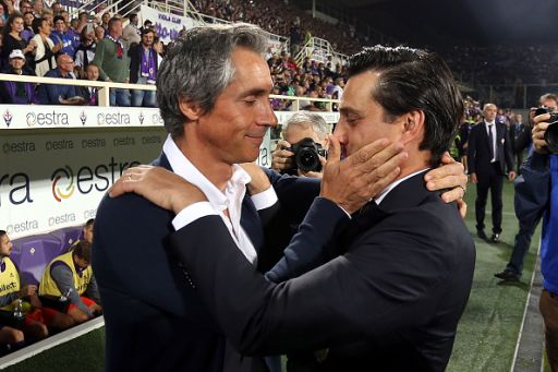 FLORENCE, ITALY - SEPTEMBER 25: Paulo Sousa manager of ACF Fiorentina and Vincenzo Montella manager of AC Milan during the Serie A match between ACF Fiorentina and AC Milan at Stadio Artemio Franchi on September 25, 2016 in Florence, Italy. (Photo by Gabriele Maltinti/Getty Images)