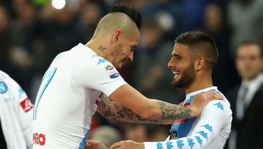 NAPLES, ITALY - DECEMBER 02: Marek Hamsik (L) and Lorenzo Insigne of Napoli celebrate the third goa during the Serie A match between SSC Napoli and FC Internazionale at Stadio San Paolo on December 2, 2016 in Naples, Italy. (Photo by Maurizio Lagana/Getty Images)