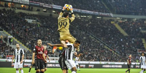 Gianluigi Donnarumma of Milan in actions during Serie A Football. AC Milan versus Juventus.