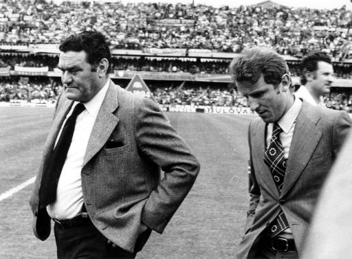 Undated file photo of AC Milan coach Nereo Rocco and former soccer player Giovanni Trapattoni. This year will mark the 25th anniversary of Rocco's death, occured on Feb. 20, 1979 in Trieste, Italy. He coached AC Milan in four different spells, winning two championships, two European Cups, and the World Cup for Clubs. (Ap Photo/Carlo Fumagalli)