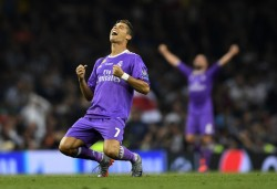 CARDIFF, WALES - JUNE 03: Cristiano Ronaldo of Real Madrid celebrates victory after the UEFA Champions League Final between Juventus and Real Madrid at National Stadium of Wales on June 3, 2017 in Cardiff, Wales. (Photo by Laurence Griffiths/Getty Images)