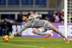 AC Milan's goalkeepr Donnarumma saves a goal opportunity against Lazio during their Serie A soccer match in Rome