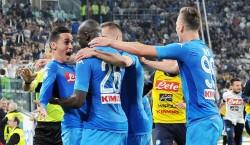 Juventus-Napoli 0-1 / Esultanza azzurra al gol di Koulibaly