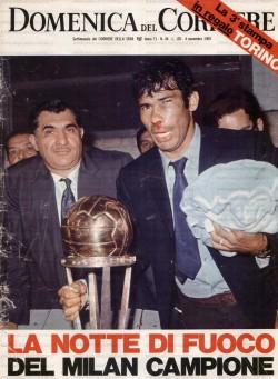 Nester Combin sulla copertina della Domenica del Corriere dopo la finale di Coppa Intercontinentale con l'Estudiantes